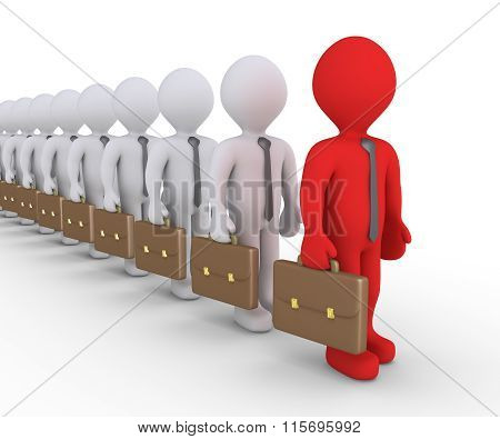 Different Businessman In A Row