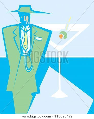 Woodcut style image of a man in zoot suit next to a martini