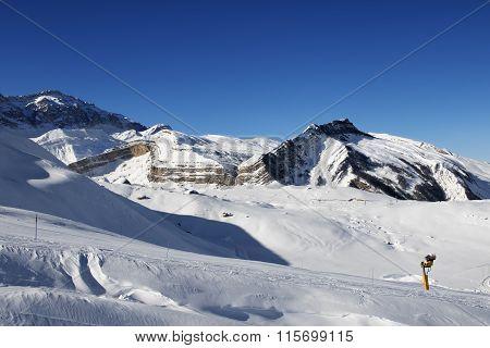 Ski Resort At Nice Sun Day