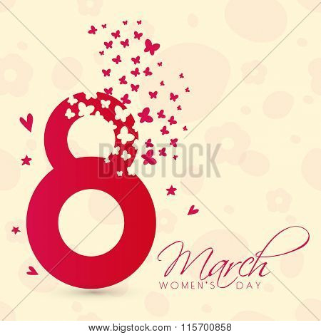Elegant greeting card with creative text 8 March on stylish background for Happy Women's Day celebration.