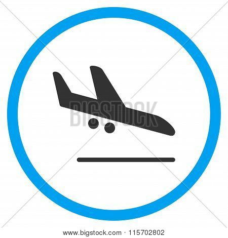 Aiplane Landing Circled Icon