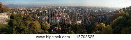 BERGAMO, ITALY - NOVEMBER 4, 2015: Citta Bassa (Lower Town) in Bergamo, Lombardy, Italy. Panoramic view pictured from the Citta Alta (Upper Town).
