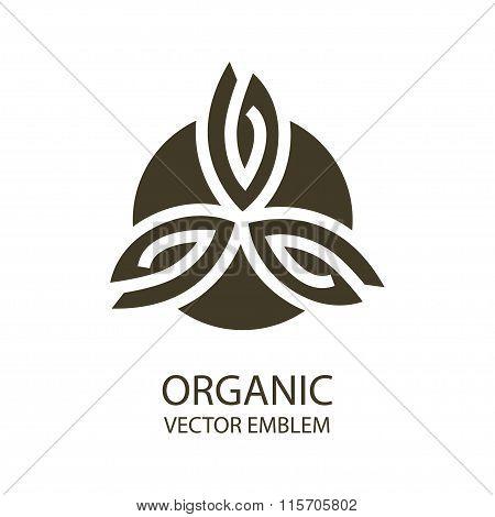 Vector organic emblem black, white, outline symbol