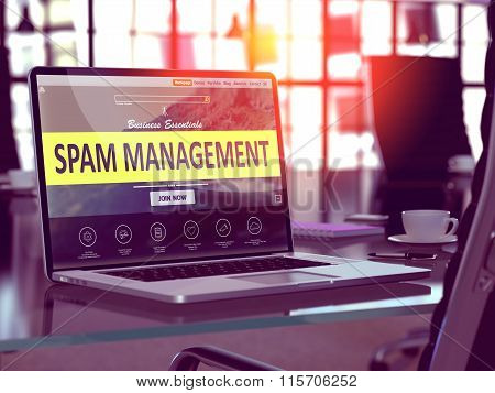 Spam Management on Laptop in Modern Workplace Background.