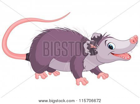 Clipart illustration of cute cartoon opossum