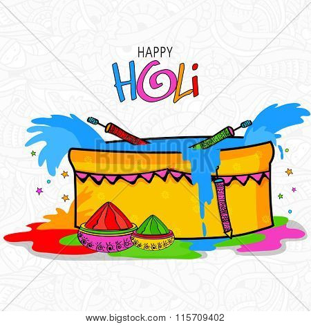 Creative tub full of colour with water guns (Pichkari) and dry colours on floral design decorated background for Indian Festival, Happy Holi celebration.