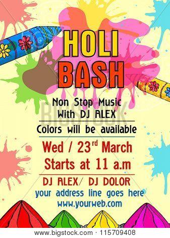 Colourful splash decorated Pamphlet, Banner or Flyer design for Indian Festival of Colours, Happy Holi celebration.