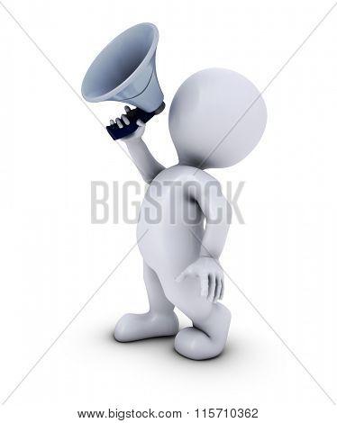3D Render of Morph Man with mega phone