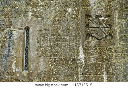Irish Medieval Wall with Stonework Crest and Window