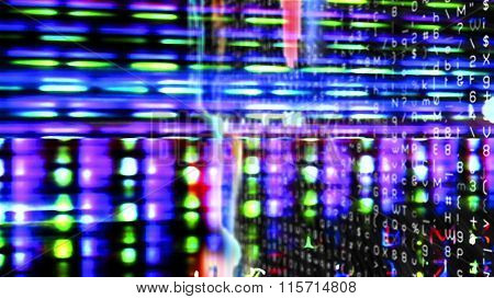 Futuristic, video screen display with pixels and light effects.