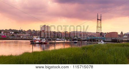 Harbor Sunset With Bridge