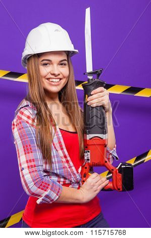 Plus-size Model On A Blue Background With The Construction Of The Protective Tape In The Constructio