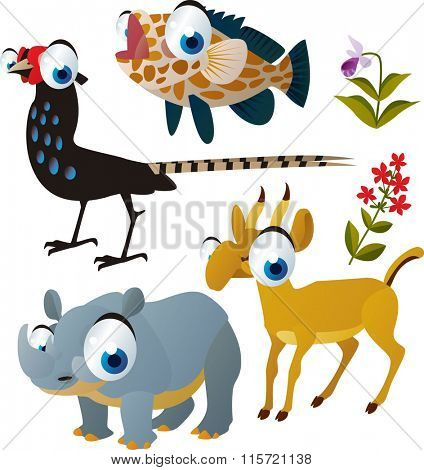 vector comic cartoon animals. Funny animals collection for kids apps or books. Animal lovers illustrations for all kind of needs. Grouper fish, pheasant, rhinoceros, antelope saiga