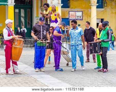 HAVANA,CUBA- JANUARY 24,2015 : Colorful band of street musicians on a beautiful Old Havana square