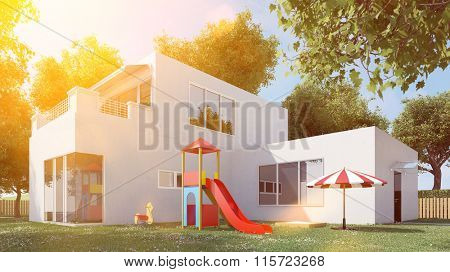 Modern cubus house with garden and playground in summer (3D Rendering)