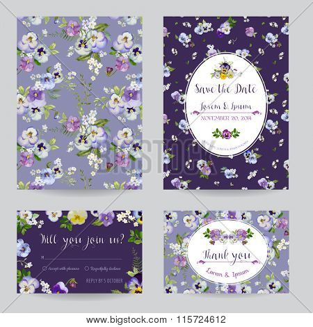 Save the Date - Wedding Invitation or Congratulation Card Set - Flower Pansy Theme - in vector