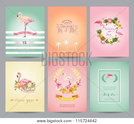 Vintage Flamingo Card Set - for Birthday, Wedding, Baby Shower, Party - in vector