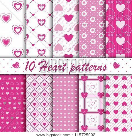 10 Pink Heart Shape Seamless Patterns Collection