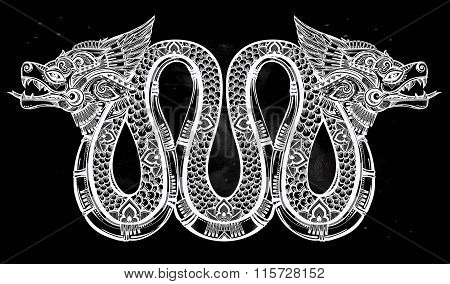 Hand drawn illustration of winged serpent.