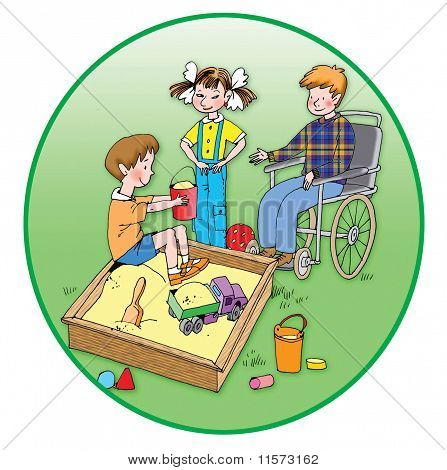 Healthy Children Playing With A Handicapped Child