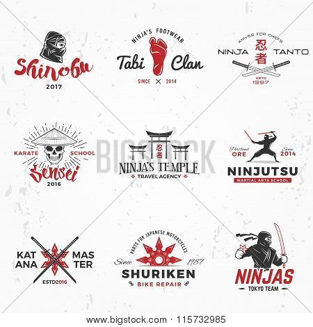Set of Japanese Ninjas Logo. Katana master insignia design. Vintage ninja mascot badge. Martial art