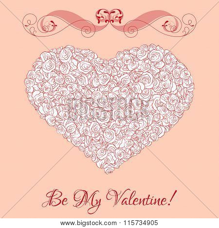 Vector heart from roses with curl