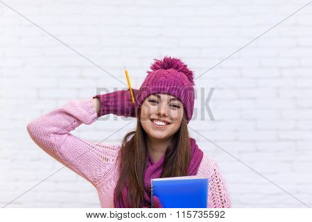 Attractive Student Girl Happy Emotional Smile In Pink Hat Holding Folder Pencil