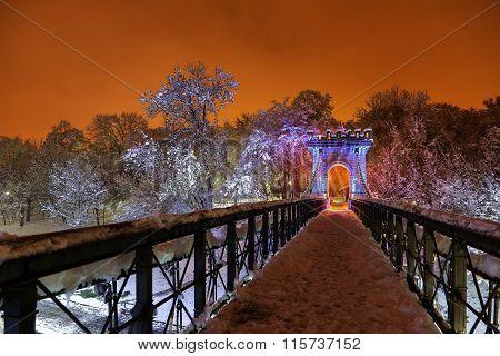 Winter nocturnal landscape in the park