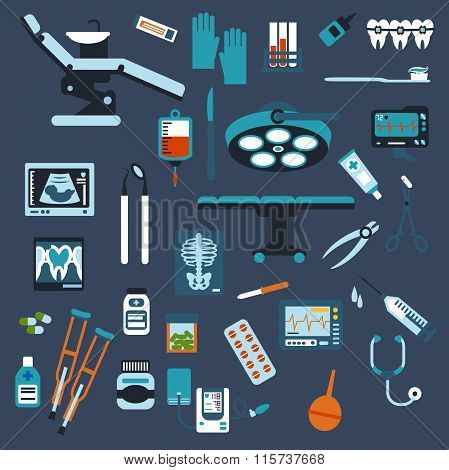 Dentistry, surgery and medical checkup flat icons