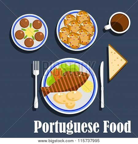 Portuguese national cuisine food and desserts