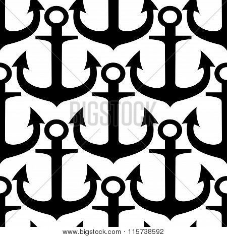 Black and white anchors seamless pattern