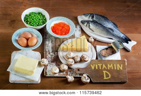 Food Sources Of Vitamin D On A Wooden Background.