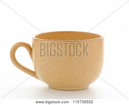 single yellow mug isolated on white background