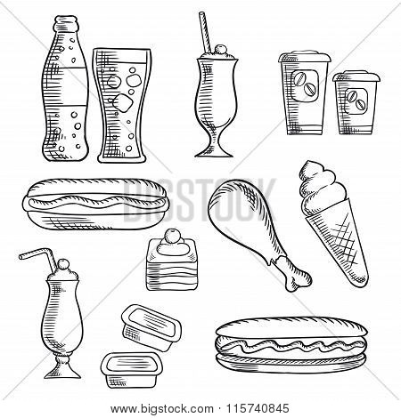 Fast food with dessert and drinks sketch icons