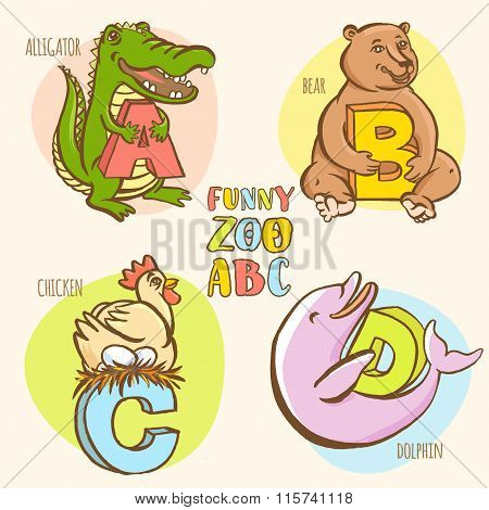 Funny zoo animals kid's alphabet. Hand drawn ink colorful style