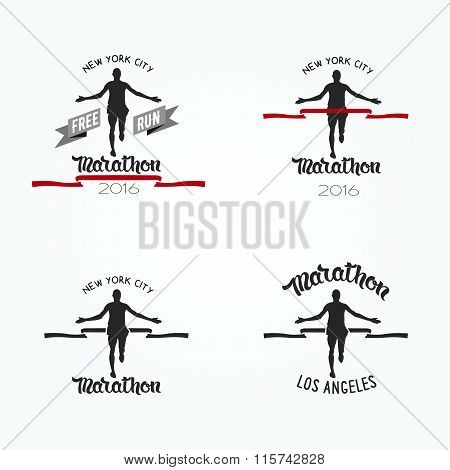 Set Of Marathon Logotypes, Long Distance Running And Competition. Set Of Run Club Logo. Running Man