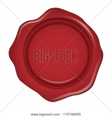 Red seal wax - isolated on white background