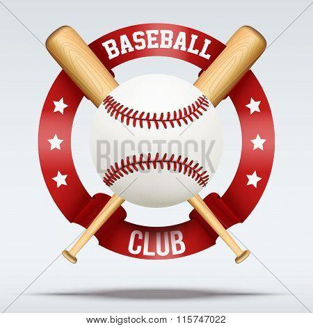 Baseball ball and wooden bats with ribbons