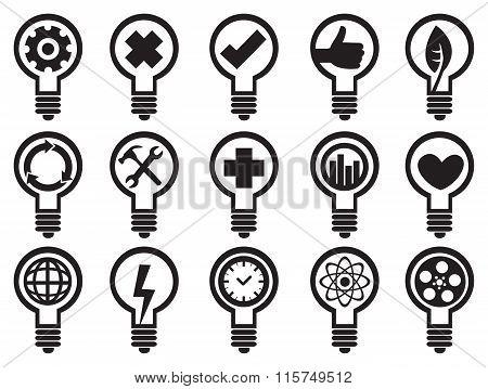 Conceptual Light Bulbs Vector Icon Set