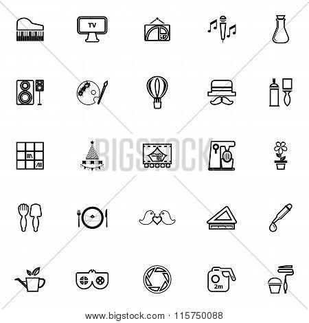 Art Activity Line Icons On White Background