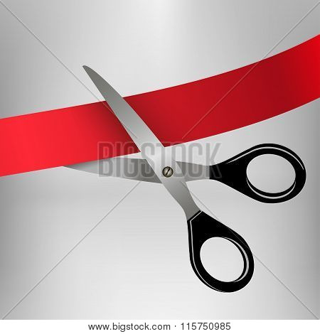 scissors cutting red ribbon isolated on gray background