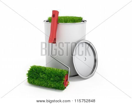Concept Of Eco-friendly Paint; Grass Growing From A Paint Roller And Paint Can