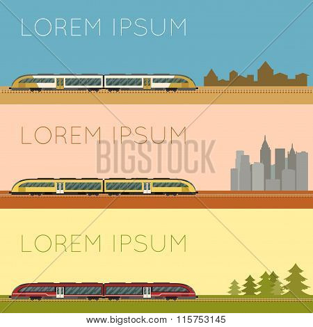 Vector image of a Set of suburban train banners poster