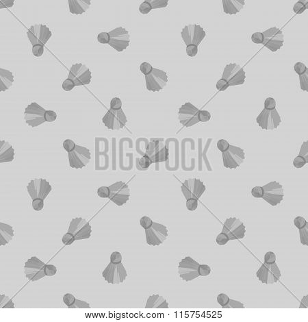 Seamless grey badminton ball pattern, shuttlecock seamless background