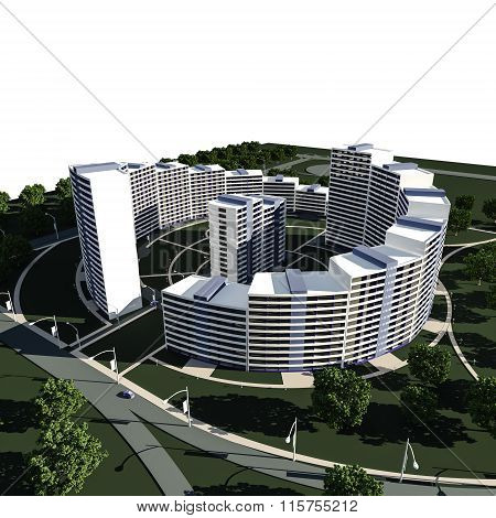 3D render of concept of residential complex on white residential buildings architecture background poster