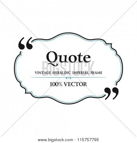 Vintage Quote blank with text bubble box balloon. Commas, note, message, quote blank, template, text, marked, tag and comment. Vector stock element for design. Dialog box.