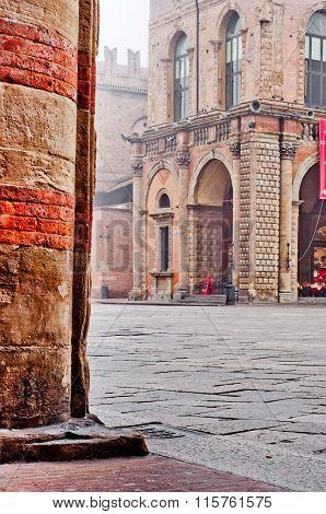 Castle Column Architecture Detail Bologna Italy