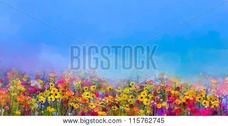 Oil Painting Of Summer-spring Flowers. Cornflower, Daisy Flower In Fields