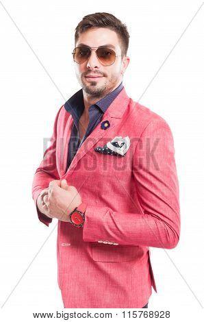 Fancy Male Model Wearing Sunglasses And Pink Elegant Jacket.