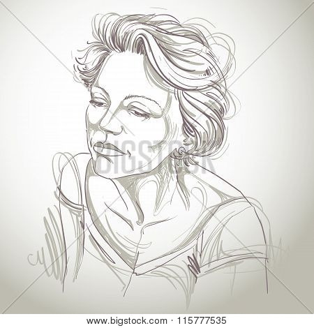 Artistic Hand-drawn Image, Black And White Portrait Of Delicate Stylish Sorrowful Girl. Emotions